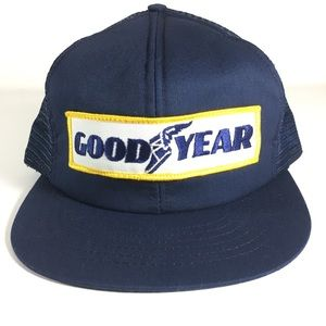 VTG Goodyear SnapBack Mesh Foam Trucker Hat Blue